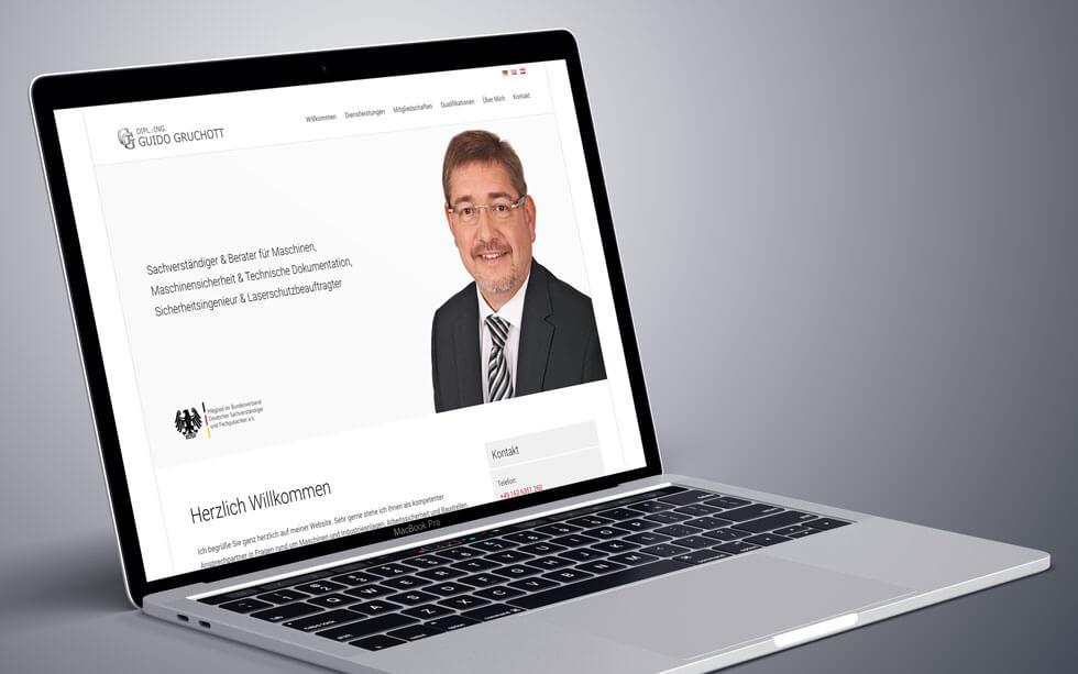Moderner Onepager für den Sachverständigen Guido Gruchott aus Saarwellingen
