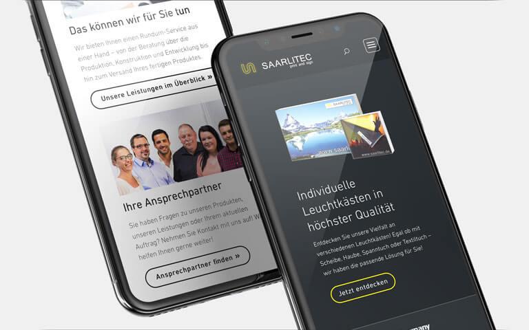 Responsive Website für die SAARLITEC Print and Sign GmbH