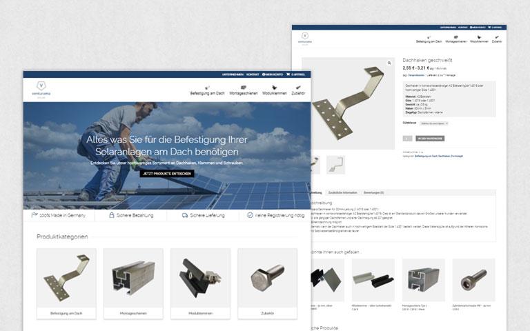 Webdesign Saarbrücken - Venturama Solar. Layout eines Webshops für Produkte zur Solaranlagen-Montage auf Dächern.
