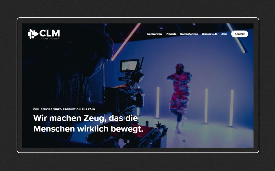 Webdesign Saarland - Die Startseite der Website CLM Create Live Media GmbH